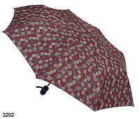 Женский зонт полуавтомат мелкие круги бордовый синяя ручка