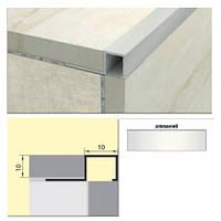 Квадратный профиль для плитки серебро АКВ