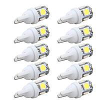 10 шт. Светодиоды для авто клиновидные T10 LED white W5W 5050 5SMD 192 168 194