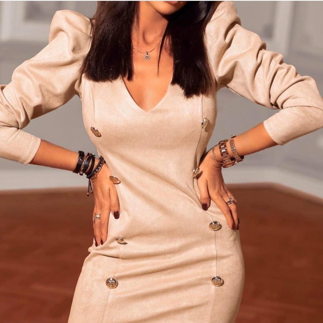 Коктейльное маленькое платье с длинным рукавом и пуговицами, 3цвета , р-р. 42-44,46-48  Код 4019Ж
