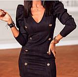 Коктейльное маленькое платье с длинным рукавом и пуговицами, 3цвета , р-р. 42-44,46-48  Код 4019Ж, фото 8