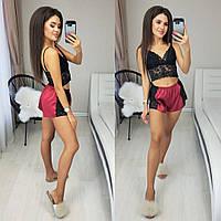 Женская стильная пижама шорты и топ, фото 1