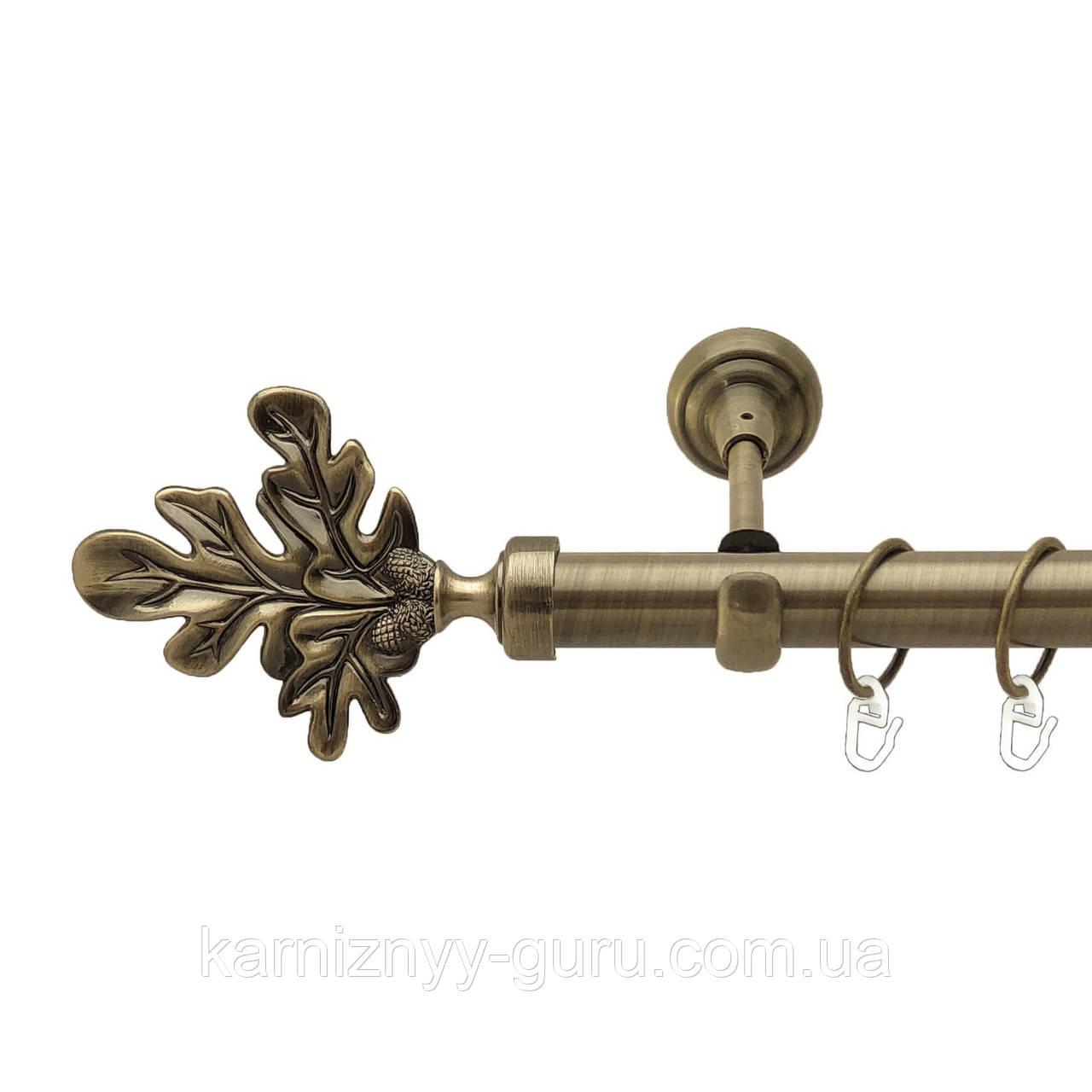 Карниз для штор ø 25 мм, одинарный, наконечник Лист дуба