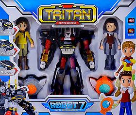 Игровой набор трансформер Тобот Тритан 3в1 с героями + медальон (свет,звук. эффекты) Tobot Tritan scn