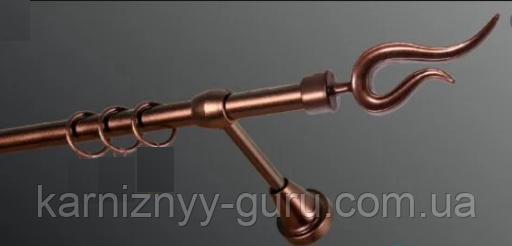 Карниз для штор ø 25 мм, одинарный, наконечник Виоло