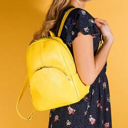 Рюкзак жовтий шкіряний жіночий. колір шкіри можна будь-який. Виробник Україна