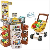Супермаркет большой,детский магазин, тележка продукты звук свет касса  668-77 коричневая