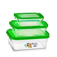 Набор пищевых контейнеров с ручками 2,5+1,2+0,55 л