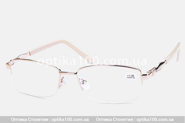 Женские очки для зрения в металлической оправе. Бежево-золотистые полуободковые, фото 2
