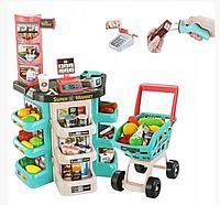 Супермаркет большой,детский магазин, тележка продукты звук свет касса  668-76 бирюзовая