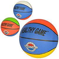Мяч баскетбольный VA 0002  размер7,резина,8панелей,рисунок-наклейка,2цвета,520г,в кульке