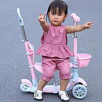 Самокат 5 в 1 беговел детский трехколесный / бирюзовый,  розовый/ с родительской ручкой,  сиденьем, подножками