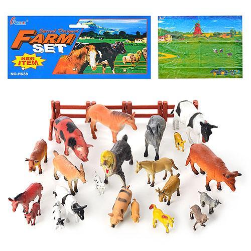 Животные H 638  домашние, 21шт, игровое поле, забор, в кульке, 40-25,5-11см