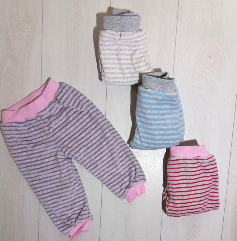 Штаны детские велюровые в полоску с махровой подкладкой, Mini class  (размер 68)