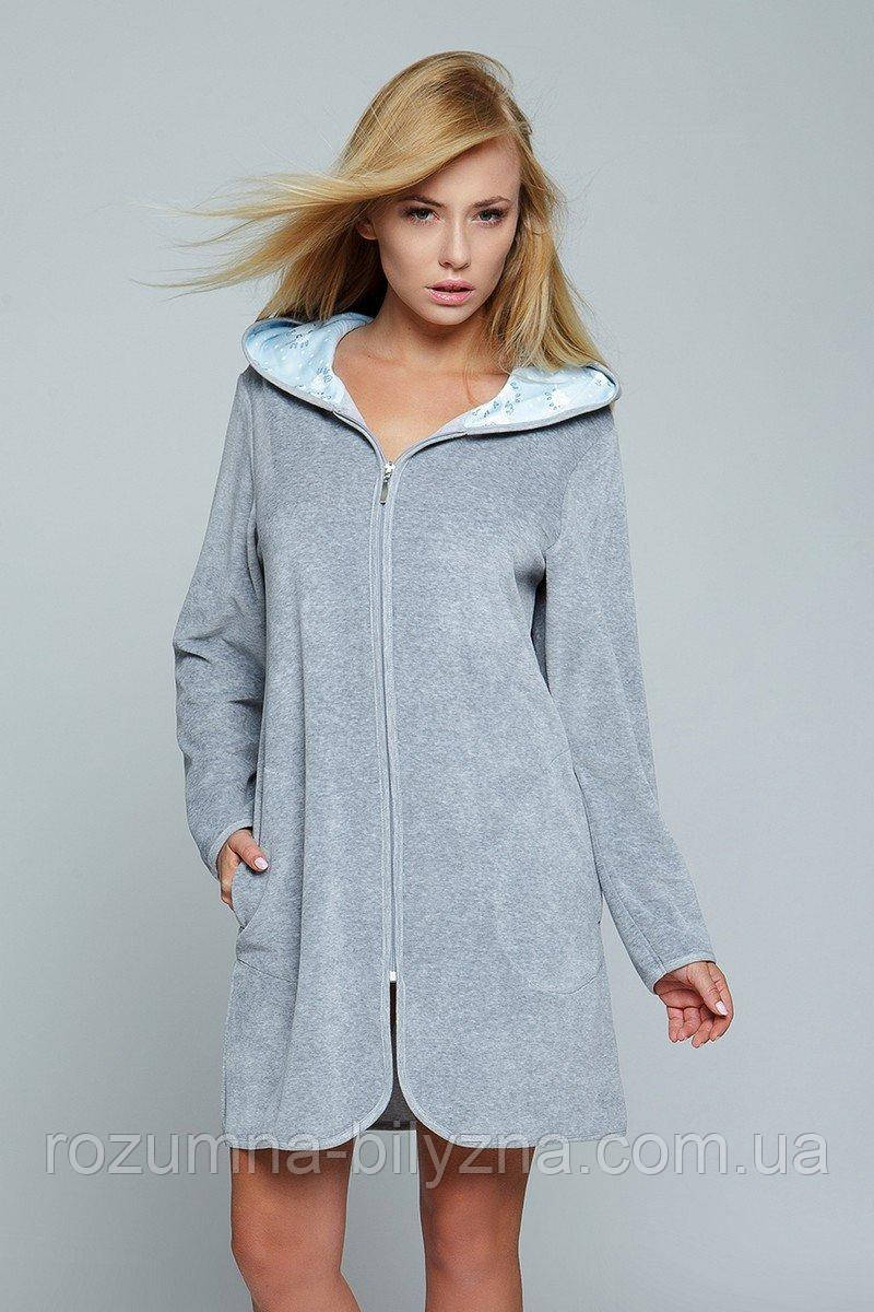 Халат натільний жіночий, блискавка по всій довжині, сірий, S/M, TM SENSIS