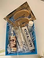 Набор для покраски ресниц и бровей.  цвет графит + патчи под глаза в подарок (№8)