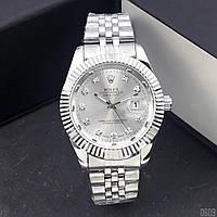 Часы наручные мужские кварцевые в стиле Rolex Date Just Серебристые