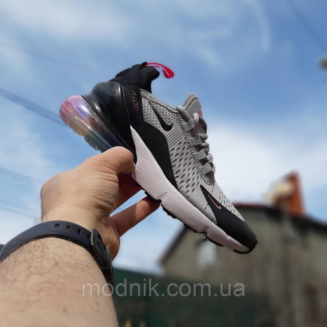 Женские кроссовки Nike Air Max 270 (серо-черные) 2856