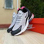 Женские кроссовки Nike Air Max 270 (серо-черные) 2856, фото 8