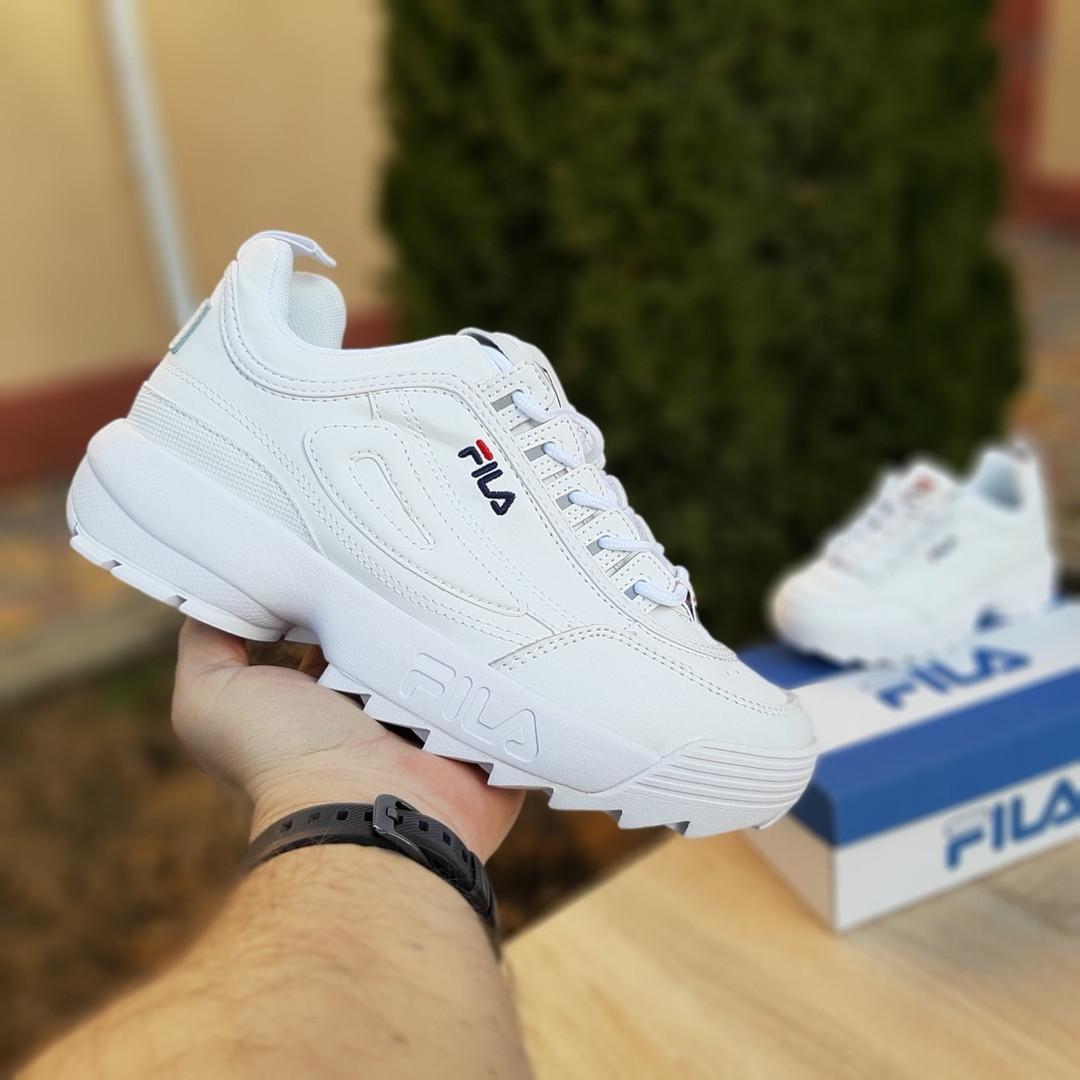 Женские кроссовки FILA disruptor 2 (бело-синие) 2971