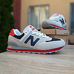 Мужские кроссовки New Balance 574 (серые с синим и красным) 10059, фото 8