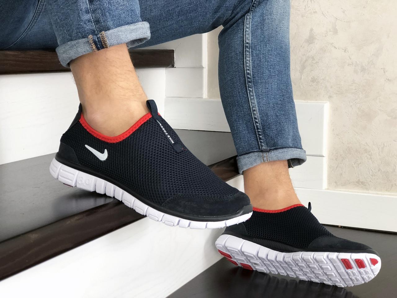 Мужские кроссовки Nike Free Run 3.0 (темно-синие с белым и красным) 9201