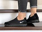 Женские кроссовки Nike Free Run 3.0 (черные, лого белое) 9214, фото 2