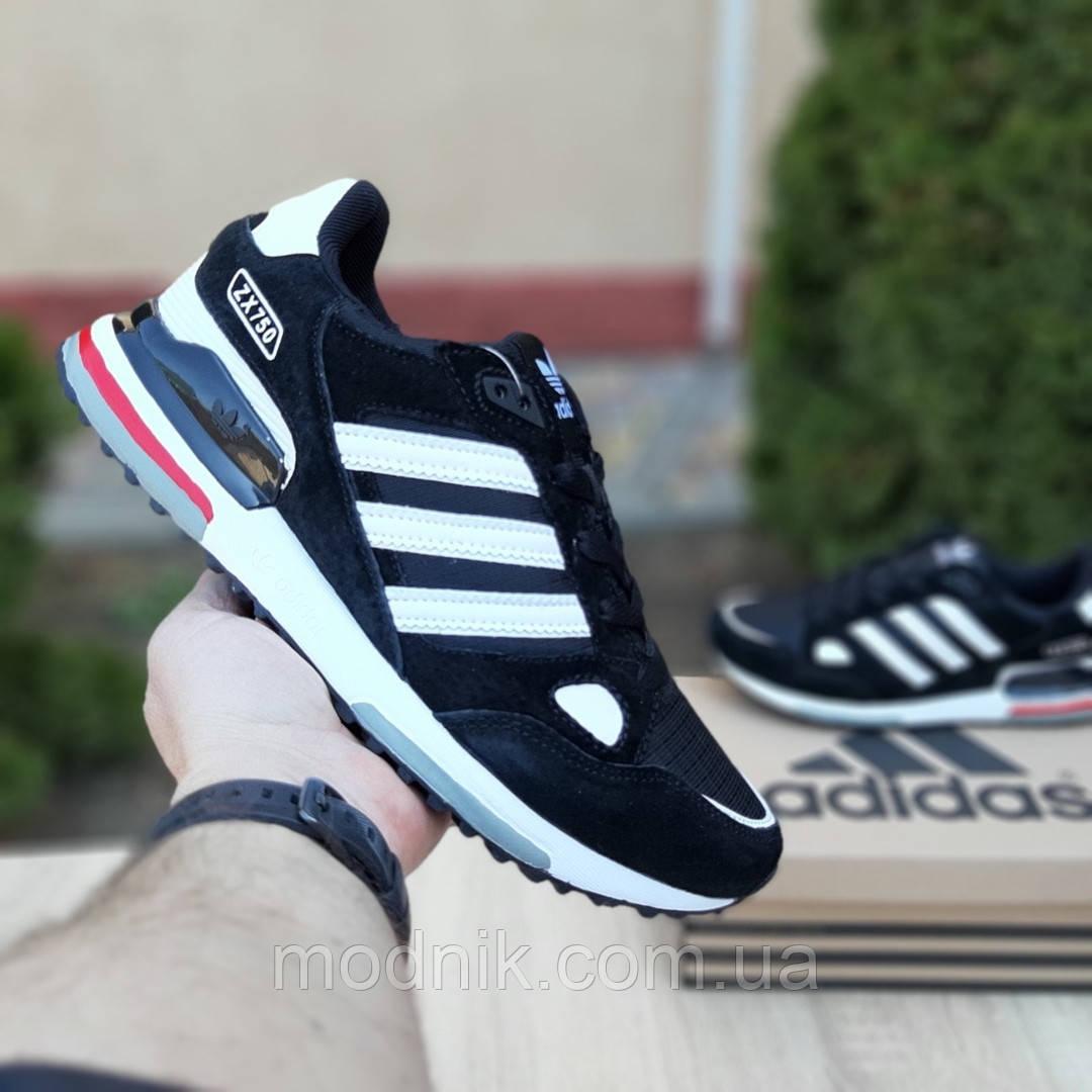 Мужские кроссовки Adidas zx 750 (черные) 10061