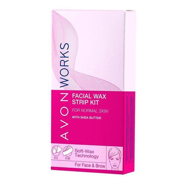 Депилятор. Набор для удаления волос на лице.Avon Works (20 полосок + 2 шт влажных салфеток)