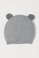 Вязанная демисезонная шапочка с ушками для малышей
