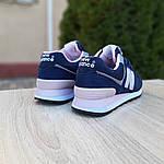 Женские замшевые кроссовки New Balance 574 (сине-розовые) 20055, фото 2