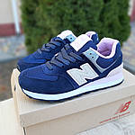 Женские замшевые кроссовки New Balance 574 (сине-розовые) 20055, фото 8