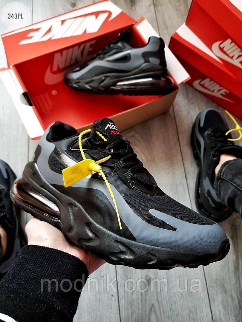 Мужские кроссовки Nike Air Max 270 React (черно-серые) 343PL