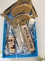 Набор для покраски ресниц и бровей.  цвет коричневый + патчи под глаза в подарок (№8)