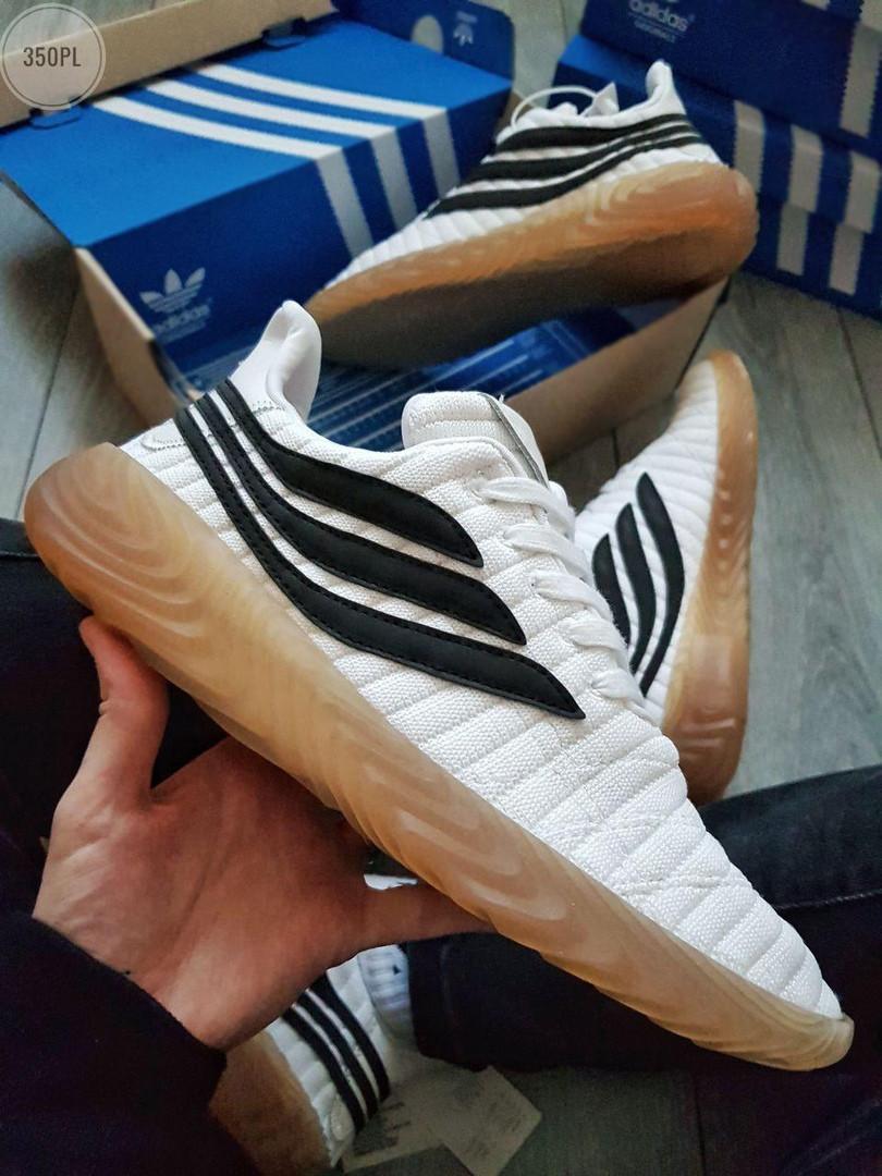 Мужские кроссовки Adidas Sobakov (бело-черные) 350PL