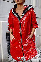 Женская лаковая ветровка с плащвки монклер с капюшоном (серебро, черный, красный, 42-44, 46-48, 50-52), фото 1