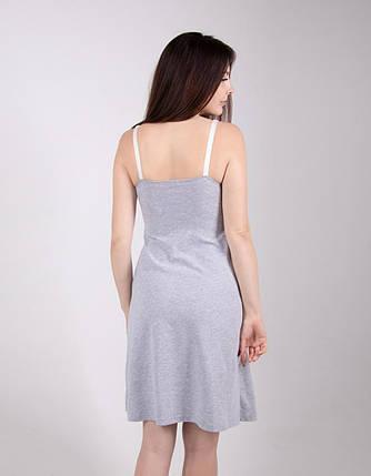 Ночная рубашка для кормящих мам светло-серая для кормления размер 42-50, фото 2
