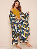 Комплект для сна, дома из 4 предметов, набор. Пижама женская с принтом журавлей, размер XL (синий), фото 2