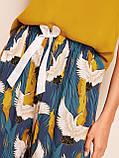 Комплект для сна, дома из 4 предметов, набор. Пижама женская с принтом журавлей, размер XL (синий), фото 7