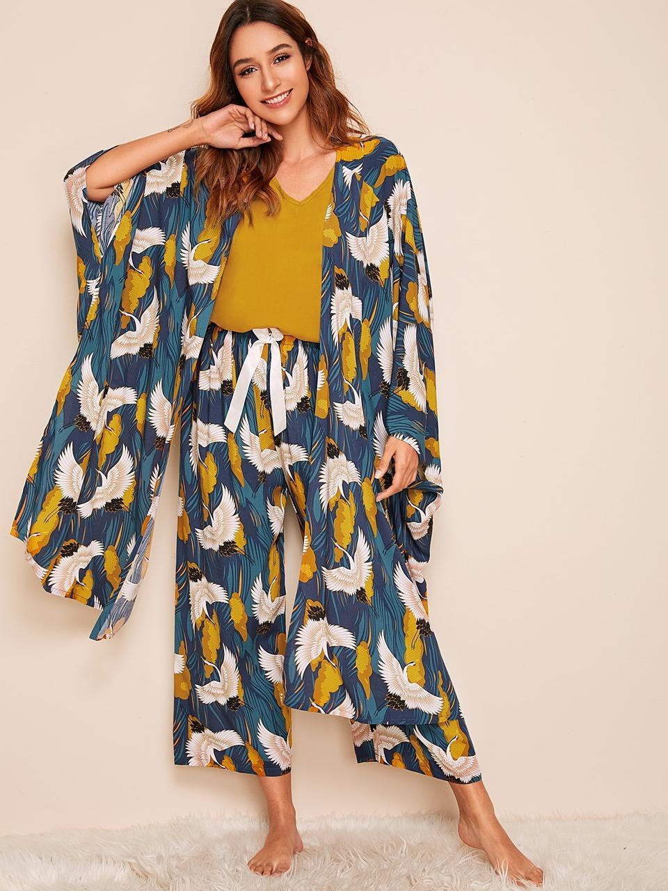 Комплект для сна, дома из 4 предметов, набор. Пижама женская с принтом журавлей, размер XL (синий)