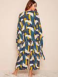 Комплект для сна, дома из 4 предметов, набор. Пижама женская с принтом журавлей, размер XL (синий), фото 3