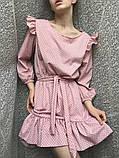 Платье женское с пояском в горох 42-46 рр. СИНИЙ, фото 5