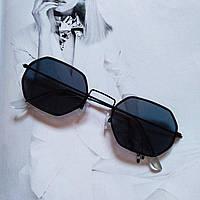 Солнцезащитные многоугольные очки  с цветной линзой Черный