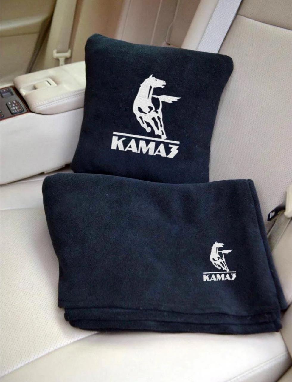 """Автомобильный плед и подушка подарочный набор с вышивкой логотипа """"KAMAZ"""""""