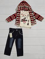 Комплект одежды 3-ка для мальчика (джинсы+футболка длинный рукав+кофта вязанная), Ecoo