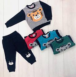 Костюм демисезонный для мальчика: кофта длинный рукав +штаны, (рисунок Тигр), Breeze (размер 104)