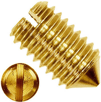 Винт установочный с прямым шлицем латунный MMG DIN 553  M3 х 4  100 шт