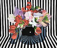 """Картина. """"Натюрморт с цветами"""". Абстракция. Акрил, холст, 50×60 см"""