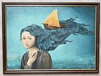 """Картина. """"Девушка и корабль"""". Акрил, холст, 50×70 см"""