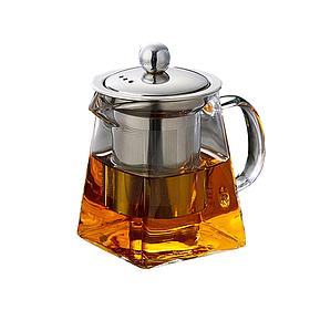 Скляний чайник заварник Saval 0.590 л Прозорий КОД: 605